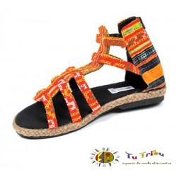 Sandalia bota étnica naranja