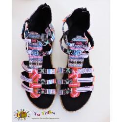 Sandalia bota étnica rosa