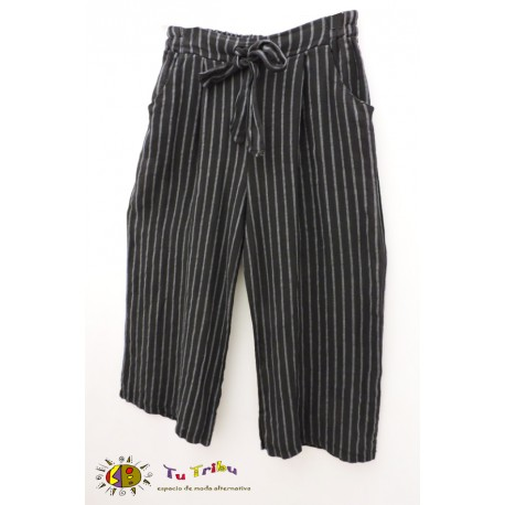 Pantalón pesquero lino rayas
