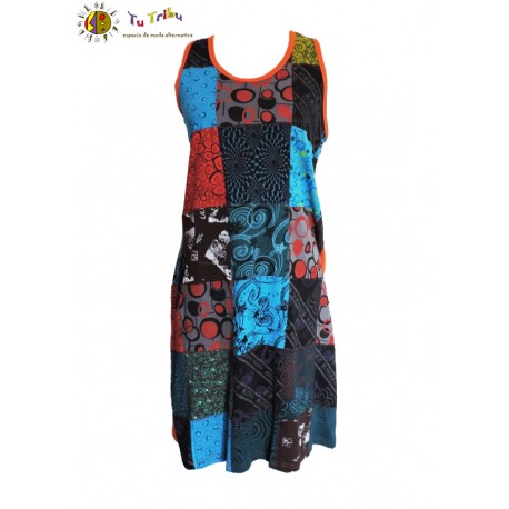 Vestido tirantes patch multicolor