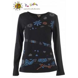 Camiseta m/l bajos bordado