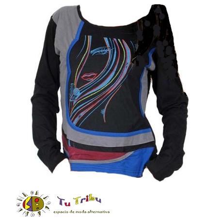 Camiseta m/l algodón bordados