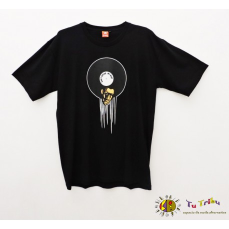 Camiseta chico negra disco