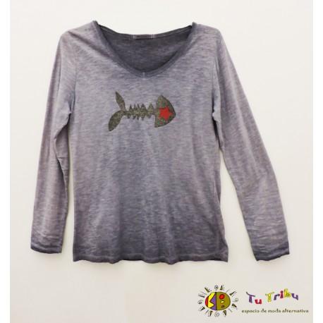 Camiseta raspa/estrella