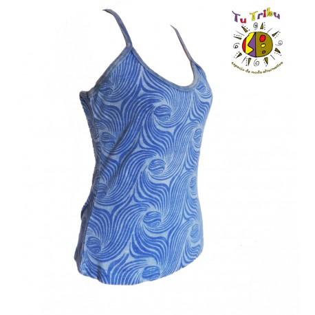 Camiseta tirantes azul ondas