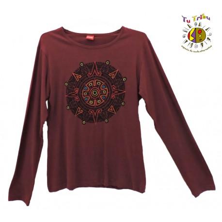Camiseta m/l mandala bordado