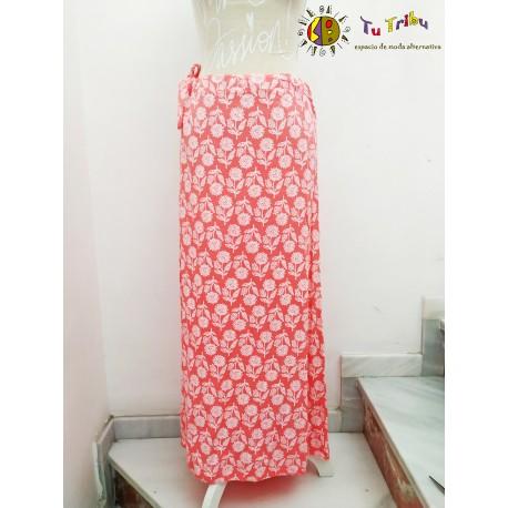 Falda larga coral