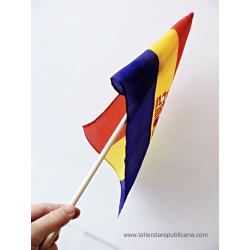 Bandera de mano republicana con palo (grande)